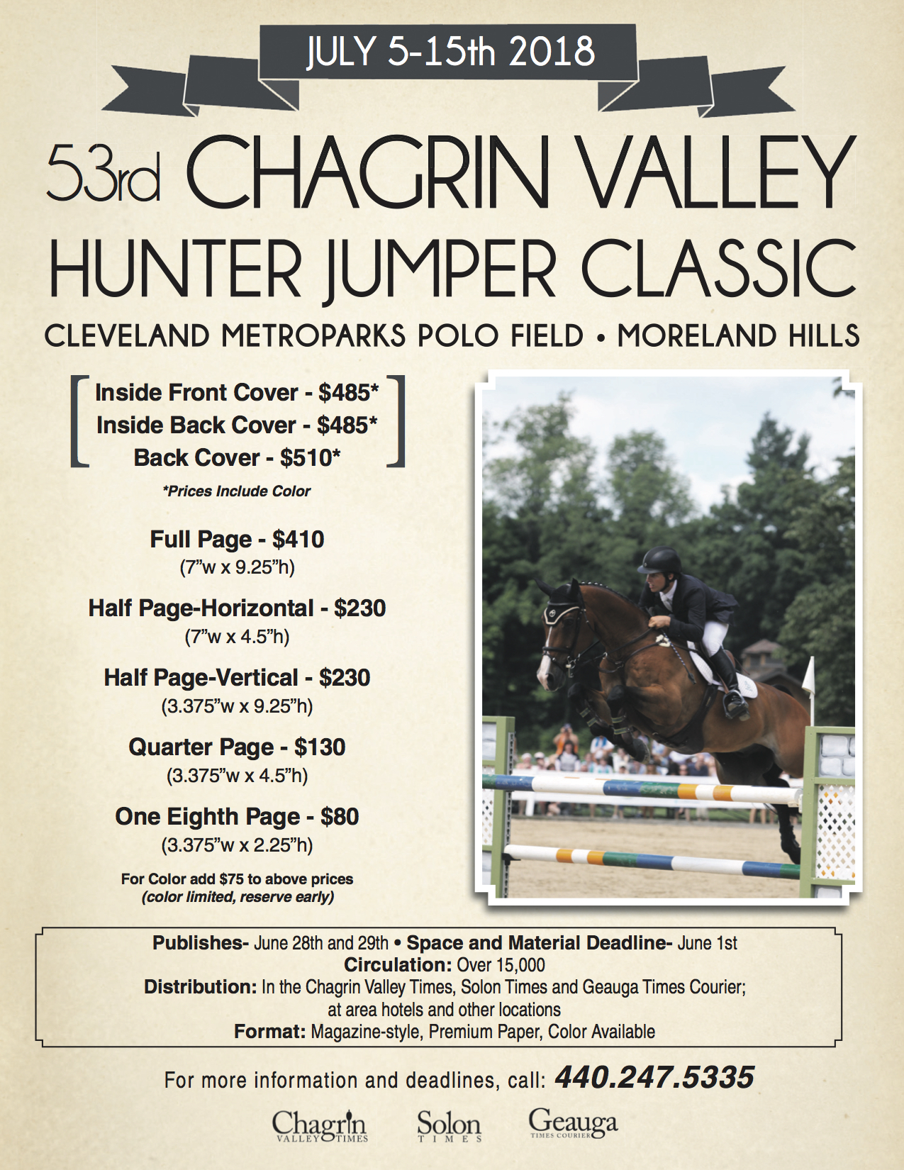 Chagrin Hunter Jumper Classic Advertising Costs 2018
